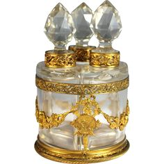 Antique French Set of Perfume/Scent Bottles in Ormolu Holder from Juliet Jones Vintage