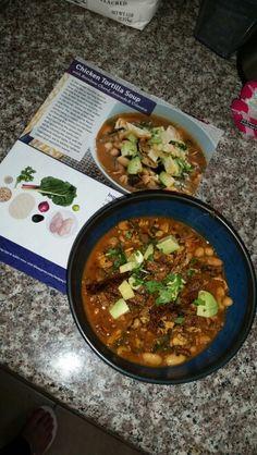 Chicken Tortilla Soup with Rainbow Charts,  Avacado & Cilantro