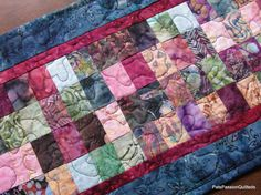 Parfait Batik Scrappy Quilted Table Runner by PatsPassionQuilteds, $55.00