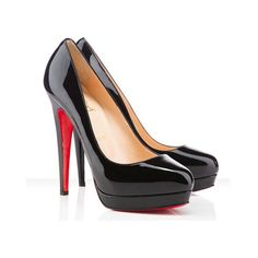 Christian Louboutin Alti Pump 160mm Patent Leather Black Red Bottom... (2.890 ARS) ❤ liked on Polyvore featuring shoes, pumps, red pumps, red black pumps, red shoes, black patent shoes and christian louboutin pumps
