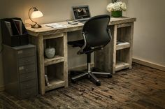 Chunky Rustic Twin Pedestal Desk - Genuine Reclaimed Timber