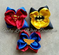 Check out this item in my Etsy shop https://www.etsy.com/listing/252878397/batman-hair-bow-superman-bow-wonder