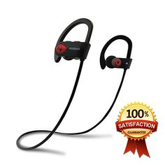 Hussar Bluetooth Headphones, Best Wireless Sports Earphones with Mic, IPX7 Waterproof, HD Sound with Bass, Noise Cancelling, Secure Fit, 8 hours playtime for iPhone Android (2017 NEW Magicbuds)  SUPERIOR HIGH FIDELITY SOUND: With advanced CSR Bluetooth V4.1 tech, our in-ear design offers incredible sound quality with deep bass and crystal clear treble, no matter your taste in music. Works great for soundtracks, audio books, relaxing sounds, and even techno music.  COMFORTABLE and SECUR...