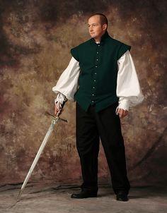 Hunter Green Melton Wool Mens Renaissance Doublet