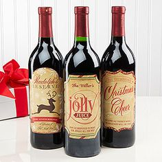 "LOVE LOVE LOVE these Personalized Christmas Wine Bottle Labels! You can personalize them with your name and slap them on your favorite wine to hand out as gifts at Christmas! Love the ""Rudolph's Reserve,"" ""Jolly Juice"" and ""Christmas Cheer"" fake wine names! Too cute!"