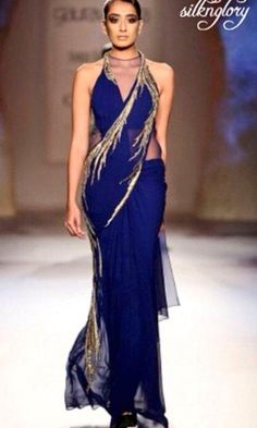 Buy Blue Color Pre-Stitched Saree by Akanksha Singh at Fresh Look Fashion Fashion Mode, India Fashion, Asian Fashion, Look Fashion, Fashion Online, Indian Attire, Indian Ethnic Wear, Indian Style, Indian India