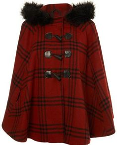 Red checked faux fur hood cape now - Miss Selfridge Promotion Tartan Clothing, Tweed Run, Tartan Fashion, Faux Fur Hooded Coat, Scottish Plaid, Cape Coat, Tartan Plaid, Winter Coat, Clothes For Women
