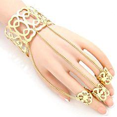 Arras Creations Fashion Heart Cutout Ring Bracelet Hand Chain/Slave Bracelet/Cuff Bracelet 3 Ring for Women / - Gold) Slave Bracelet, Ring Bracelet, Cuff Bracelets, Hand Chain, Fashion Jewelry, Amazon, Heart, Rings, Gold