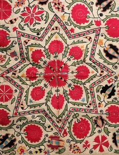 antique uzbek suzani, central asian ethnic textiles, silk embroidery, 19th c,