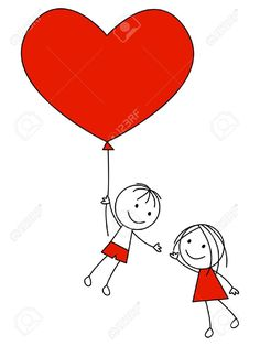 Illustration of Cute couple with heart balloon vector art, clipart and stock vectors. Cute Couple Drawings, Art Drawings For Kids, Pencil Art Drawings, Easy Drawings, Ballon Drawing, Couple Clipart, Doodle Art Drawing, Drawings Of Friends, Heart Balloons