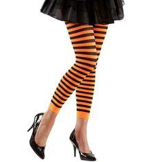 Dames legging oranje met zwart. Gestreepte dames legging met oranje en zwarte strepen. One size.