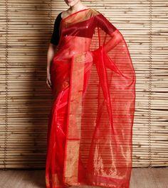 Red Handwoven Silk Jamdani Saree With Zari Work
