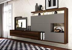 PRESOTTO | CrossART wall unit with beige seta matt lacquered ...