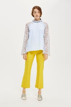 Discover the latest in women's fashion and new season trends at Topshop. Lace Sleeves, Bell Sleeves, Yellow Pants, Long Shorts, Long Tops, Poplin Fabric, Blue Lace, Blue Tops, Floral Lace