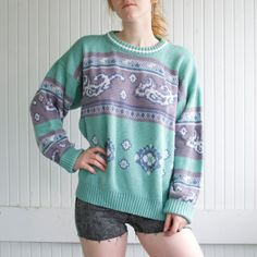 Retro Mint Decorative Persian Sweater - S/M