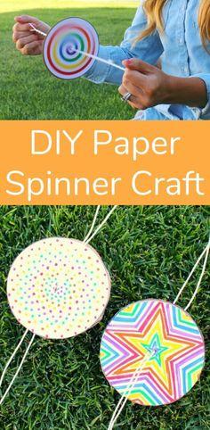 DIY Paper Spinner für endlosen Spaß Kids Crafts simple diy crafts for kids Hand Crafts For Kids, Craft Activities For Kids, Diy For Kids, Simple Kids Crafts, Kids Arts And Crafts, Craft Ideas, Paper Games For Kids, Crafts For Camp, Diy Crafts With Paper
