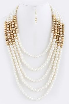 White Faux Pearl with Gold Bead 5 Strand Layered Statement Necklace Boutique | eBay