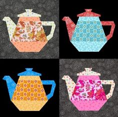 This paper pieced tea pot pattern is a versatile design for many kinds of projects as a table topper, wall hanging, kitchen projects, place mats or cushions! Just use
