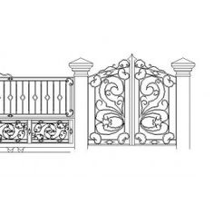 Perimeter Fence Cad Blocks Free, Revit Family, Cad Library, Cad Drawing, Entrance Gates, Gate Design, Autocad, Fences, Yard