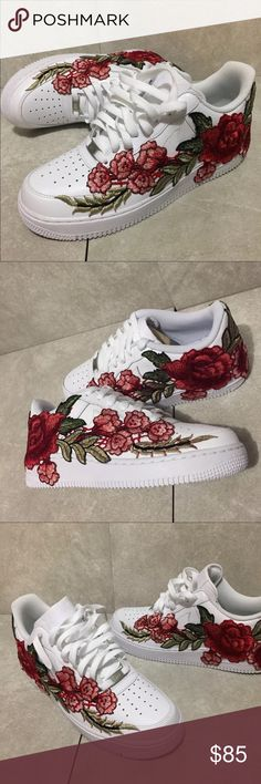Nike Air Force One low Roses ⚠️IF INTERESTED PLEASE ORDER FROM MY PERSONAL SNEAKER SITE⚠️ : gothedomoway.bigcartel.com  Sizes 4-13 Available. To get these for $85.00 email me at: domoartbiz@gmail.com ❗️ Nike Shoes Sneakers