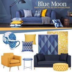 """Die Farbe Blau wirkt beruhigend und entspannend. Wir haben uns inspirieren lassen von der """"Blauen Stunde"""", der Zeit zwischen Sonnenuntergang und nächtlicher Dunkelheit. Die tiefblaue Färbung des Himmels trifft hier auf das strahlende Licht des aufgehenden Mondes. Dies zaubert eine Farbstimmung von poetischer Schönheit. In unserer """"Blue Moon""""-Kollektion trifft tiefes Blau, die königliche unter den Farben, auf leuchtende Gelbtöne. Eine Kombination voller Eleganz und Strahlkraft für Dein ..."""