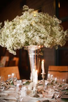 Baby's Breath Centerpiece ~ Beautiful!   Ann Graham Floral & Event Design.   Photography by clarkwalkerstudio.com