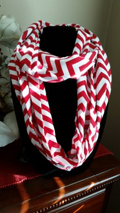 Red and White Chevron Infinity Scarf by SittisHands on Etsy