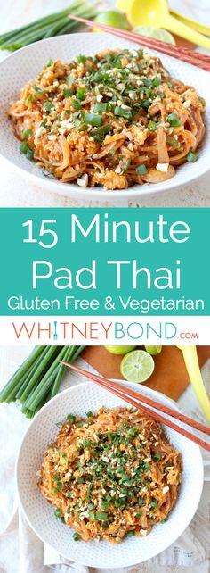 This Spicy Vegetable Pad Thai recipe is easy to make in just 15 minutes! Spicy Vegetable Pad Thai recipe is easy to make in just 15 minutes! Vegetarian Pad Thai, Clean Eating Vegetarian, Vegetarian Cooking, Healthy Pad Thai, Easy Pad Thai, Tofu Pad Thai, Vegetarian Italian, Healthy Eating, Easy Thai Recipes
