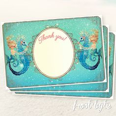 Items similar to Mermaid Seahorse Thank You Notes - Digital printable file on Etsy Goddess Of The Sea, Vintage Mermaid, Thank You Notes, Mermaids, Birth, Pairs, Unique Jewelry, Handmade Gifts, Etsy