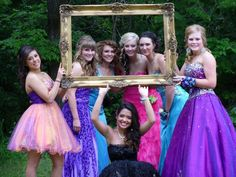 Prom pictures ideas #prom.. would be cute with the guys holding the frame with the girl faces framed.