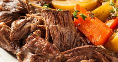Easy Pot Roast Dinner 3 to 5 lb beef roast and 2 Hours of cooking and was great! Perfect Pot Roast, Easy Pot Roast, Beef Pot Roast, Pot Roast Recipes, Beef Recipes, Dinner Recipes, Chuck Roast Stove Top Recipe, Recipe For Pot Roast In The Oven, Roast In Dutch Oven