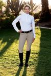 The B Vertigo Denise Womens Mid-Rise Curvy Knee Patch Breeches are for curvy figure women.  You will love these high-fashion, mid to high rise breeches for a perfect