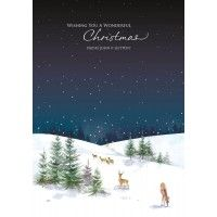 Christmas Card Greetings Business Sayings : Deer In The Snow Front Personalised Charity Christmas Card with your Company