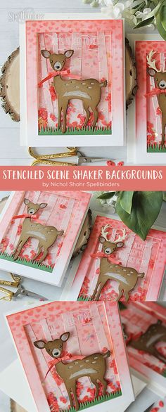 Video Friday | Stenciled Scene Shaker Backgrounds with Nichol Spohr for Spellbinders using S3-229 Deer S3-320 Picket Fence SCD-012 Pierced Rectangles dies #spellbinders #neverstopmaking #diecutting #cardmaking #handmadecard