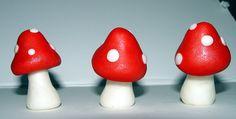 12 Fondant Mushroom/Toadstool Cupcake Toppers