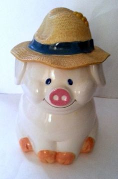 *PIG w/ STRAW HAT FOR LID ~ Cookie Jar  Treasure Craft USA Ceramic LG Cute Vintage