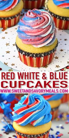 Red White and Blue Cupcakes are the perfect patriotic treat. Fluffy and soft van., Red White and Blue Cupcakes are the perfect patriotic treat. Fluffy and soft vanilla cupcakes are topped with sweet red, blue and white buttercream swirl. 4th Of July Desserts, Fourth Of July Food, Köstliche Desserts, Holiday Desserts, Holiday Recipes, Dessert Recipes, Holiday Cupcakes, July 4th, 4th July Cupcakes