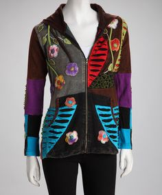 Take a look at this Brown & Black Floral Patchwork Jacket by Rising International on #zulily today!