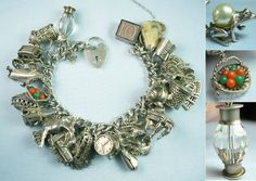 Massively Loaded English Movers Openers Color Vintage Silver Charm Bracelet | eBay