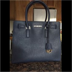 Michael Kors N/S Dillon Tote Navy Blue. gold hardware. Strap, bag, tag. Used about 3-4 times. Purchased from Macy's online. Michael Kors Bags Totes