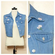 90s Denim Vest Floral Jeans Vest Small Medium by WhiteWaveVintage, $32.00
