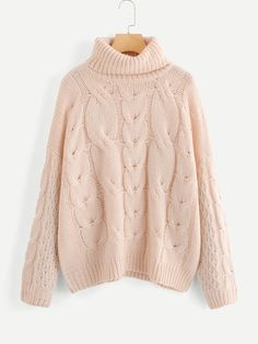 f41947d44e Product name  Plus High Neck Cable Knit Sweater at SHEIN