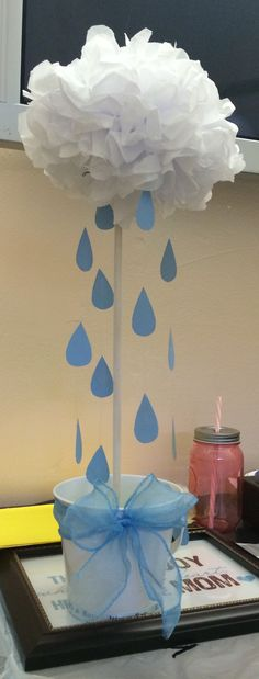 Baby Shower Centerpiece, cloud with raindrops