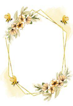 Birthday Background Design, Flower Background Design, Flower Background Wallpaper, Frame Background, Flower Backgrounds, Bee Invitations, Baby Shower Invitation Templates, Bee Photo, Baby Frame