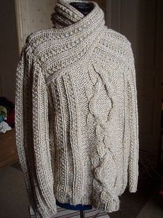 Interesting side to side knit variation on the shawl collar - Ravelry: lababla's Wrapped turtle neck sweater