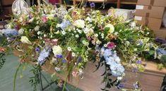 wild flower coffin spray - Google Search Funeral Flower Arrangements, Funeral Flowers, Romantic Flowers, Wedding Flowers, Cut Flowers, Wild Flowers, Casket Flowers, Funeral Sprays, Casket Sprays