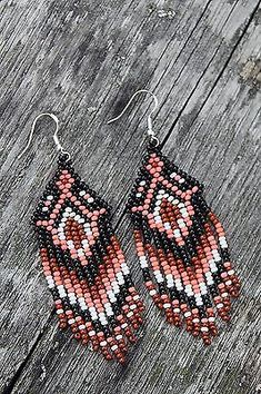 Native American Beaded Earrings handmade brown,white,pink seed bead Earrings New