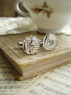 HARMONY - Music Cufflinks. Vintage Sheet Music Cufflinks. Antique Silver Cuff Links Treble & Bass Clef. Mens Jewelry. Sheet Music Jewelry.. $29.50, via Etsy.