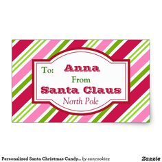 Personalized Santa Christmas Candy Gift Stickers