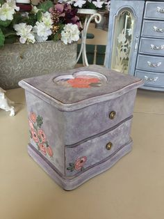Mother's Day Gifts / Wooden Vintage Jewelry Box with Music Box / Painted OOAK Designer Jewelry Chest / Upcycled Shabby Chic Jewelry Box by ByeByBirdieDesigns on Etsy https://www.etsy.com/listing/526582025/mothers-day-gifts-wooden-vintage-jewelry